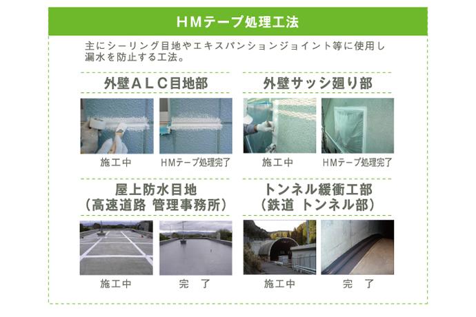 HMテープ処理工法 主にシーリング目地やエキスパンションジョイント等に使用し漏水を防止する工法。
